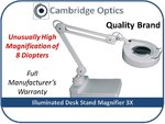 Long Reach + Light Deskstand Magnifier Now 8 Diopter Magnification!