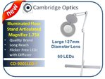 Large Lens, Long Reach, Articulated, Floor Stand, LED Magnifier  3 diopter -Top Quality Optics