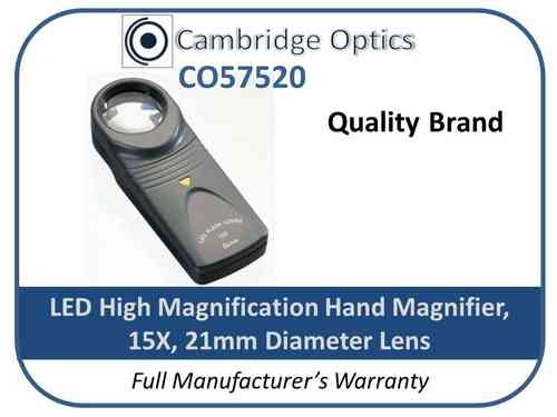 Handheld Magnifier 15X 21mm LED