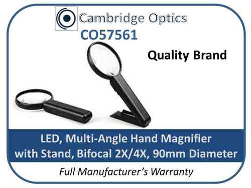 Illuminated Handheld+Stand Magnifier 2X/4X 90mm