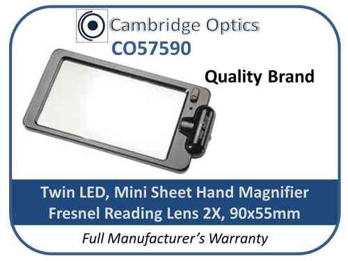 Handheld+Stand Magnifier 2x 90x50mm Sheet LED