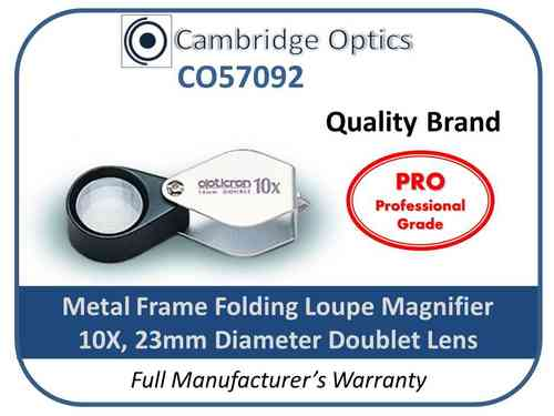 Handheld Loupe Magnifier 10X 23mm Chrome PRO