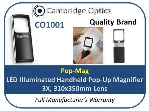Pop-Mag LED Handheld Magnifier 3X