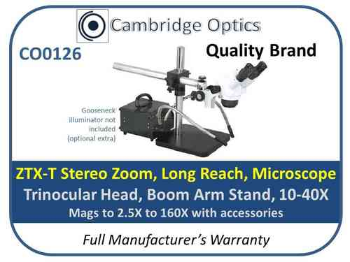 Binocular Long Reach Stereo Zoom Microscope 10X-40X (2.5X-160X with accessories) GXMZTXV1