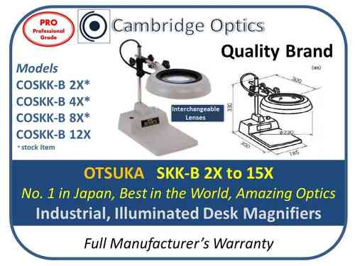 Industrial Illuminated Deskstand Magnifier 2X 130mm