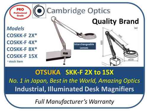 Industrial LED  Illuminated, G-Clamp, Long Reach Magnifier 2X 130mm