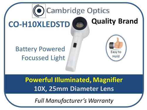 Illuminated Handheld Magnifier 10X 25mm Diam.