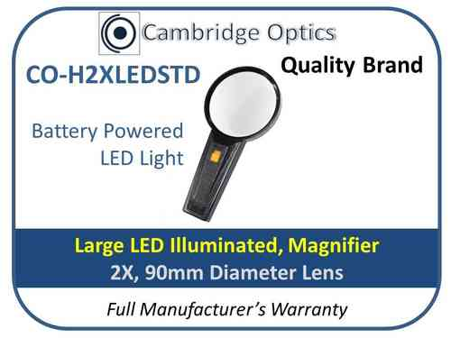 Illuminated Handheld Magnifier 2X 90mm Diam.