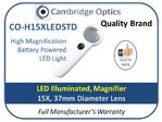 Dual LED Handheld Magnifier 15X 37mm Diam.