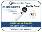 Dual LED Handheld Magnifier to 40X 21mm Diam.