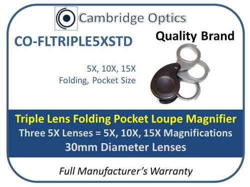 Triple Folding Loupe Magnifier 5X-15X, 3 5X Lenses 30mm Diam.