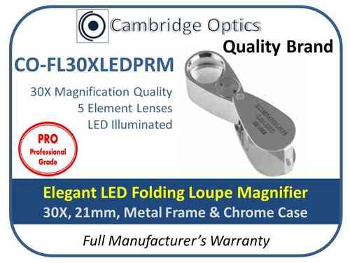 LED Folding Loupe Magnifier 30XPRO Excellent lens and very bright.