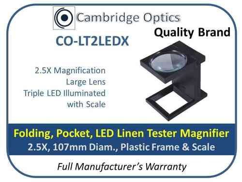 3 LED Linen Tester Magnifier Folding 2.5X 107mm Diam.