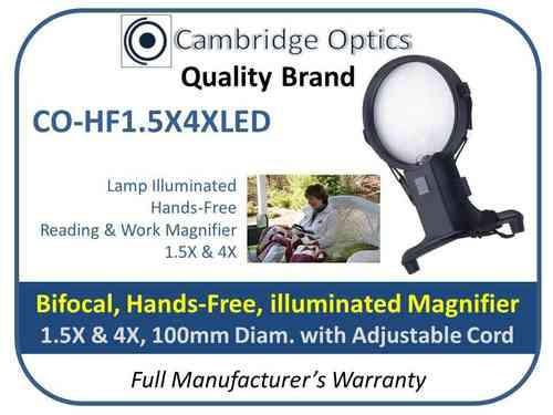 Illuminated Hands-Free Magnifier 1.5X/4X 100mm Diam. with adjustable neck cord