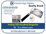 LED Folding Handheld Magnifier 3X 75x50mm