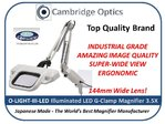 Amazing Quality, Industrial Grade, LED Illuminated, Super-Wide, G-Clamp, Long Reach Magnifier OTSUKA