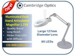 Large Lens, Long Reach, Desk Stand, LED Magnifier, Diffuser, Cover, 3 diopter -Top Quality Optics