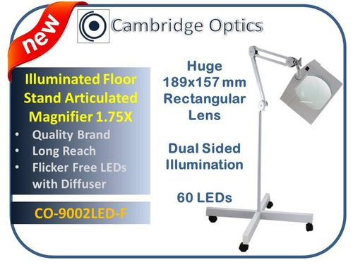 SUPER-WIDE LENS, Long Reach, Articulated, Floor Stand, LED Magnifier, 3 diopter -Top Quality Optics