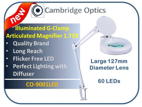 Large Lens, Long Reach, G-Clamp, LED Magnifier, Diffuser, Cover, 3 diopter -Top Quality Optics