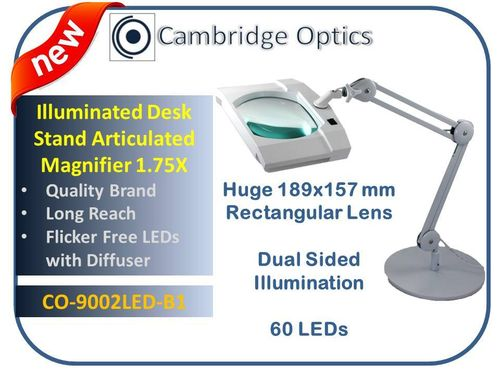 SUPER-WIDE LENS, Long Reach, Articulated, Desk Stand, LED Magnifier, 3 diopter -Top Quality Optics