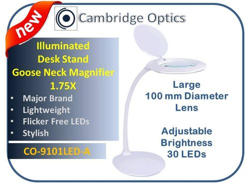 Large Lens, Stylish, Goose Neck, Desk Stand, LED Magnifier 3 diopter -Top Quality Optics