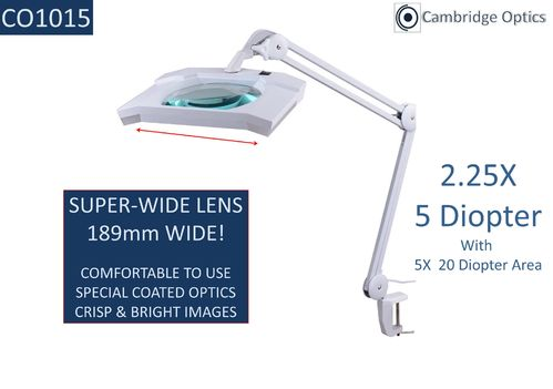 SUPER-WIDE Lens, Long Reach, G-Clamp, LED Magnifier, 5 Diopter (2.25X) PLUS 20D (5X) Lens