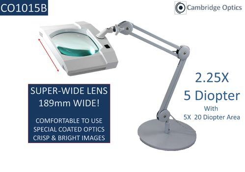 SUPER-WIDE LENS, Long Reach, Desk Stand, LED Magnifier, 5 Diopter (2.25X) PLUS 20D (5X) Lens