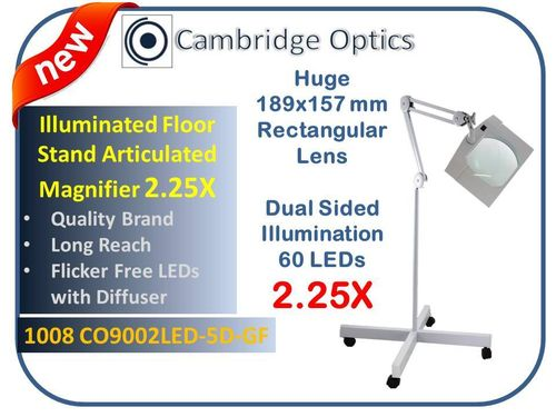SUPER-WIDE LENS, Long Reach, Floor Stand, LED Magnifier, 5 Diopter (2.25X) PLUS 20D (5X) Lens