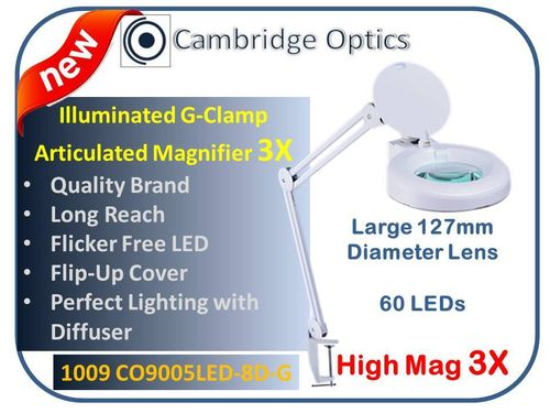 Large Lens, Long Reach, G-Clamp, LED Magnifier, Diffuser, Cover, 8 diopter -Top Quality Optics