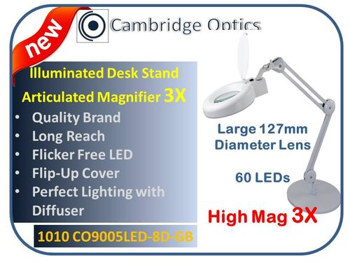 Large Lens, Long Reach, Desk Stand, LED Magnifier, Diffuser, Cover, 8 diopter -Top Quality Optics