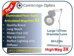 Large Lens, Long Reach, Articulated, Floor Stand, LED Magnifier 8 diopter -Top Quality Optics