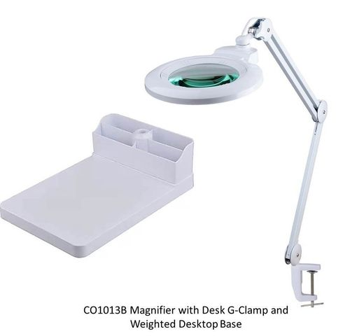 2.25X Long Reach Desk Stand Illuminated Magnifier - Super-Wide, Ultra Slim-High Brightness