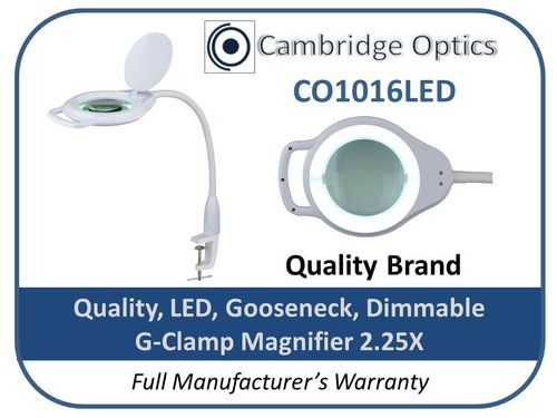 2.25X Flexible Gooseneck Dimmable LED Illuminated Glass Magnifier, Table G-Clamp. Quality Optics