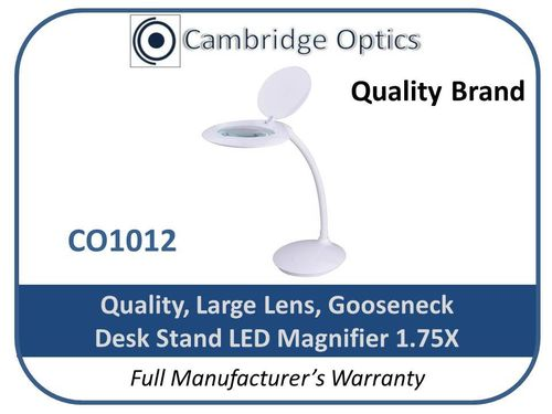 Large Lens, Stylish, Goose Neck, Desk Stand, LED Magnifier 1.75X -Top Quality Optics