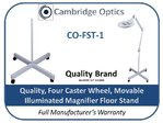 Movable Floor Stand for Illuminated Magnifiers 4 Spokes with Caster wheels
