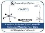 Premium Movable Floor Stand for Illuminated Magnifiers 6 Spokes with Caster wheels